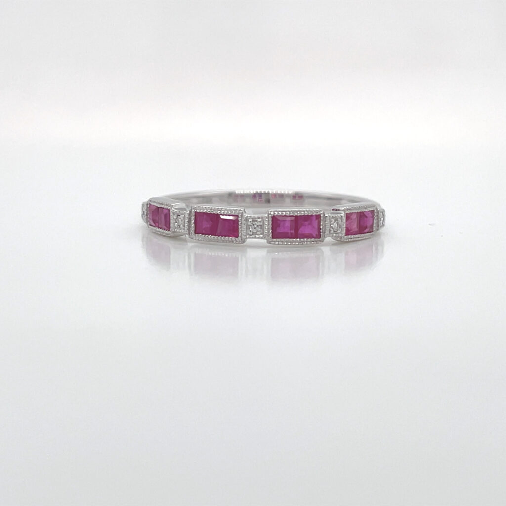 14K WHITE GOLD RUBY AND DIAMOND BAND RING